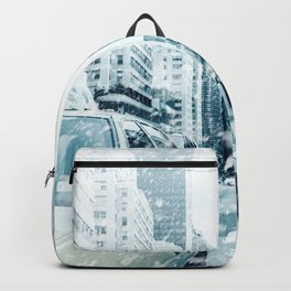 New York City Snowing Blizzard Photo Big Apple Streets Cars Backpack