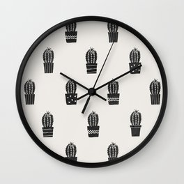 Stamped Potted Cacti Wall Clock