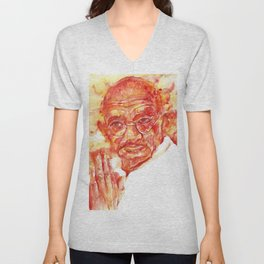 MAHATMA GANDHI - watercolor portrait Unisex V-Neck