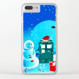 Tardis With Snow Ball Gift Christmas Clear iPhone Case