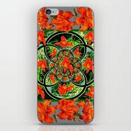 ORANGE DAYLILIES GREEN GARDEN GREY GEOMETRIC iPhone Skin