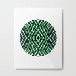 Green Circle African Dye Resist Fabric Adire Boho Chic Metal Print