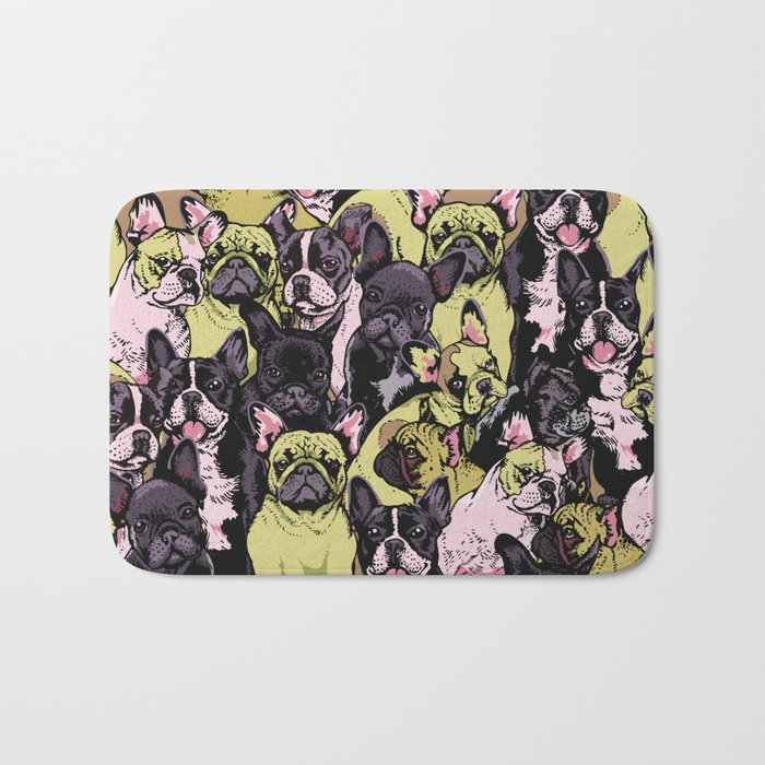 Social French Bulldog Bath Mat