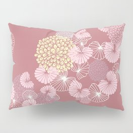 Floral Seamless Pattern on a Rusty Pink Background Pillow Sham