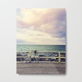 Bicycle on Fence Metal Print