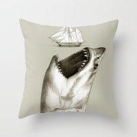 shark Throw Pillows featuring shark by Кaterina Кalinich