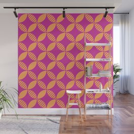 Mid Century Modern Geometric Flower Pattern Magenta and Orange 2 Wall Mural