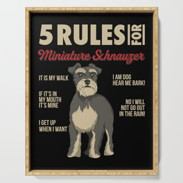 Funny Rules for Miniature Schnauzer Serving Tray