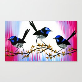 3 birds with pink and blue Canvas Print