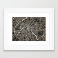 paris map Framed Art Prints featuring Paris map by Les petites illustrations