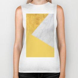 Carrara marble with gold and Pantone Primrose Yellow color Biker Tank