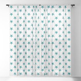 Teal Green on White Stars Sheer Curtain