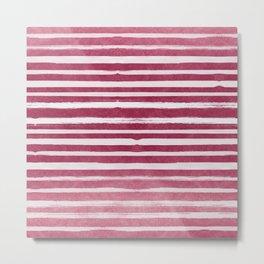 Ruby Foil Stripes Metal Print