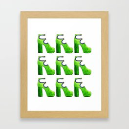 green suede bootie pattern Framed Art Print