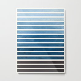 Watercolor Gouache Mid Century Modern Minimalist Colorful Green Blue Stripes Metal Print