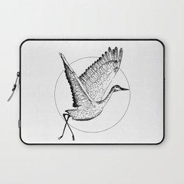 Flying Sandhill Crane Black And White Illustration / Crane Bird Drawing / Flying Crane Laptop Sleeve