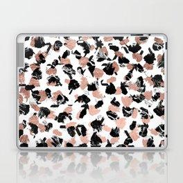 Modern faux rose gold marble brushstrokes dots pattern Laptop & iPad Skin