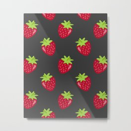 Strawberry Illustration on a Dark Background Metal Print