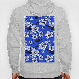 Blue Sakura Cherry Tree Flower Blooms - Aloha Hawaiian Floral Pattern Hoody