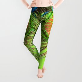 CHARTREUSE BLUE-GREEN PEACOCK FEATHERS ART PATTERNS Leggings