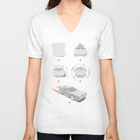 delorean V-neck T-shirts featuring Origami DeLorean by 6amcrisis