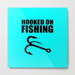 Hooked on fishing sports logo Metal Print