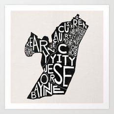 Hudson County, New Jersey Map Art Print