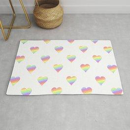 Mini Pastel Rainbow Diagonal Striped Hearts Rug
