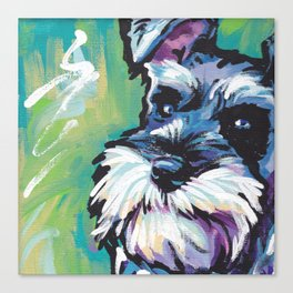 Fun Schnauzer Dog Portrait bright colorful Pop Art Painting by LEA Canvas Print