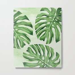 Green Monsteras Metal Print