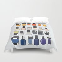nail polish Duvet Covers featuring my nail polish collection by uzualsunday