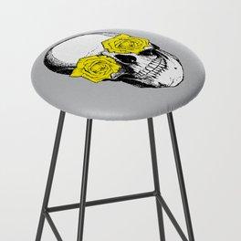 Skull and Roses | Grey and Yellow Bar Stool