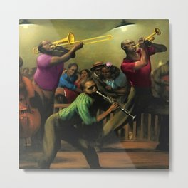 'Jazz on a High Night' African American Harlem Masterpiece by Robert Riggs Metal Print