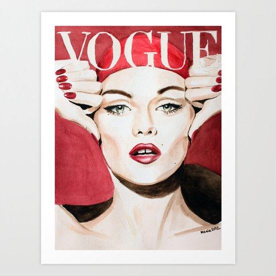 Vogue Magazine Cover. Vanessa Paradis. Fashion Illustration Art Print