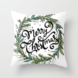 Merry Christmas Wreath Throw Pillow