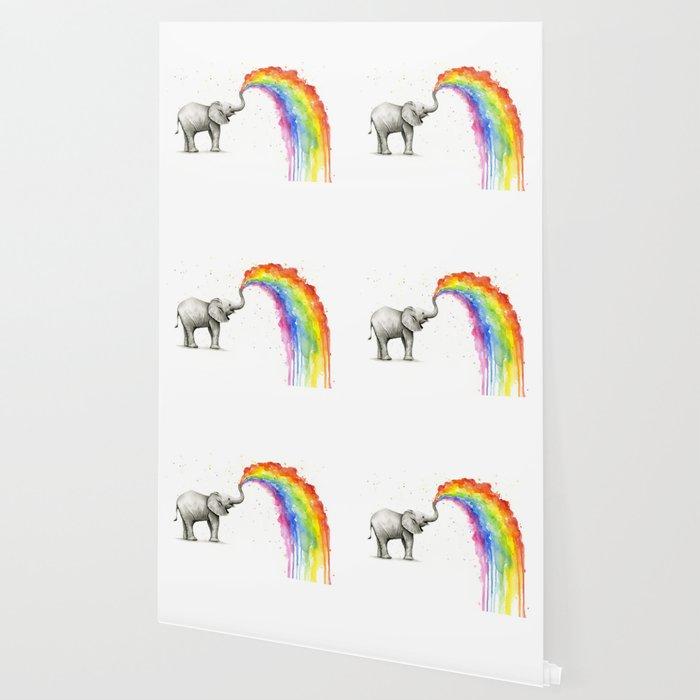 Baby Elephant Rainbow Spraying Cute Whimsical Animals Wallpaper