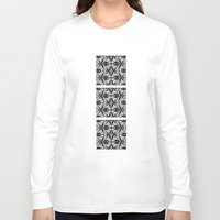 damask Long Sleeve T-shirts featuring Black Damask  by Elena Indolfi