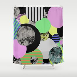Cluttered Circles - Abstract, Geometric, Pop Art Style Shower Curtain