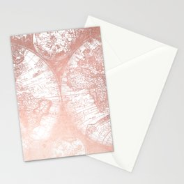 Rose Gold Pink Antique World Map by Nature Magick Stationery Cards