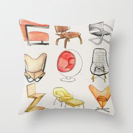 Post Modern Watercolor Chairs Throw Pillow