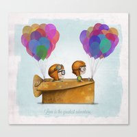 pixar Canvas Prints featuring UP Pixar — Love is the greatest adventure  by Ciara Ni Dhuinn