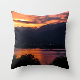 Locarno and Ascona at sunset Throw Pillow