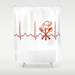 CHEF HEARTBEAT Shower Curtain