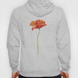 Red Poppy Flower Watercolor Hoody