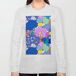 Far-Out 60's Floral in White Long Sleeve T-shirt