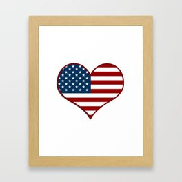 Love USA Heart Flag - Patriot/Independence Day Framed Art Print
