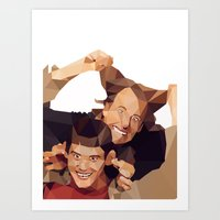 dumb and dumber Art Prints featuring Dumb and Dumber - Low Poly by Camilo