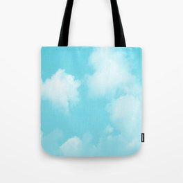 Aqua Blue Clouds Tote Bag