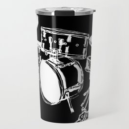 Drum Kit Rock Black White Travel Mug