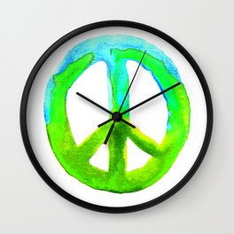 Watercolor Tie Dye Peace Sign Turquoise Lime on White Wall Clock